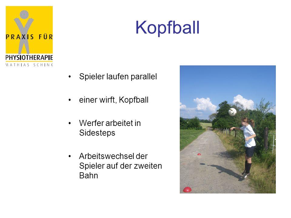 Kopfball Spieler laufen parallel einer wirft, Kopfball