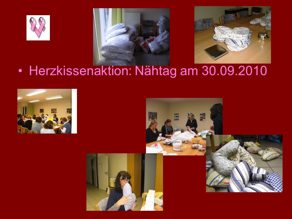 Herzkissenaktion: Nähtag am 30.09.2010