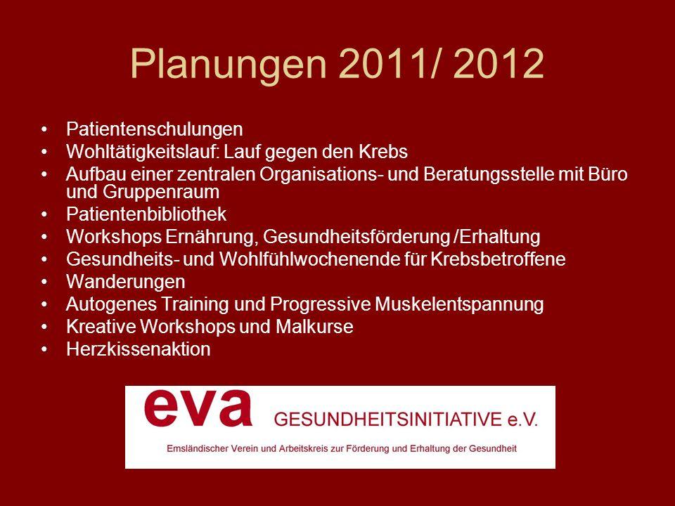 Planungen 2011/ 2012 Patientenschulungen