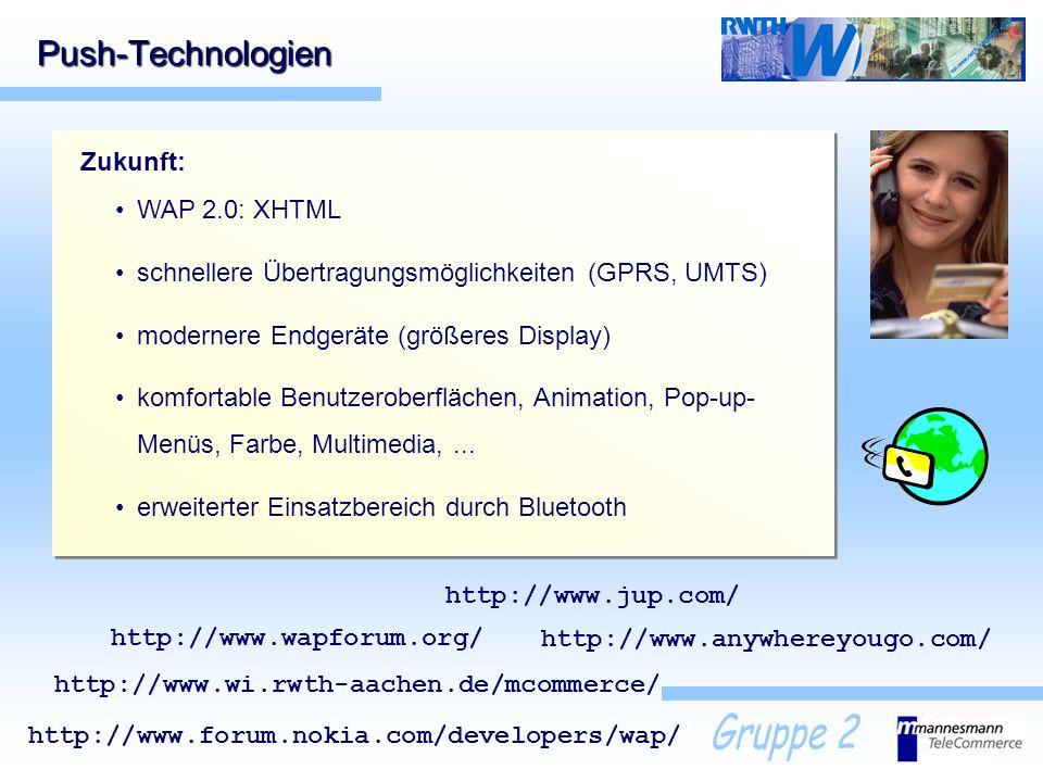 Push-Technologien Zukunft: WAP 2.0: XHTML
