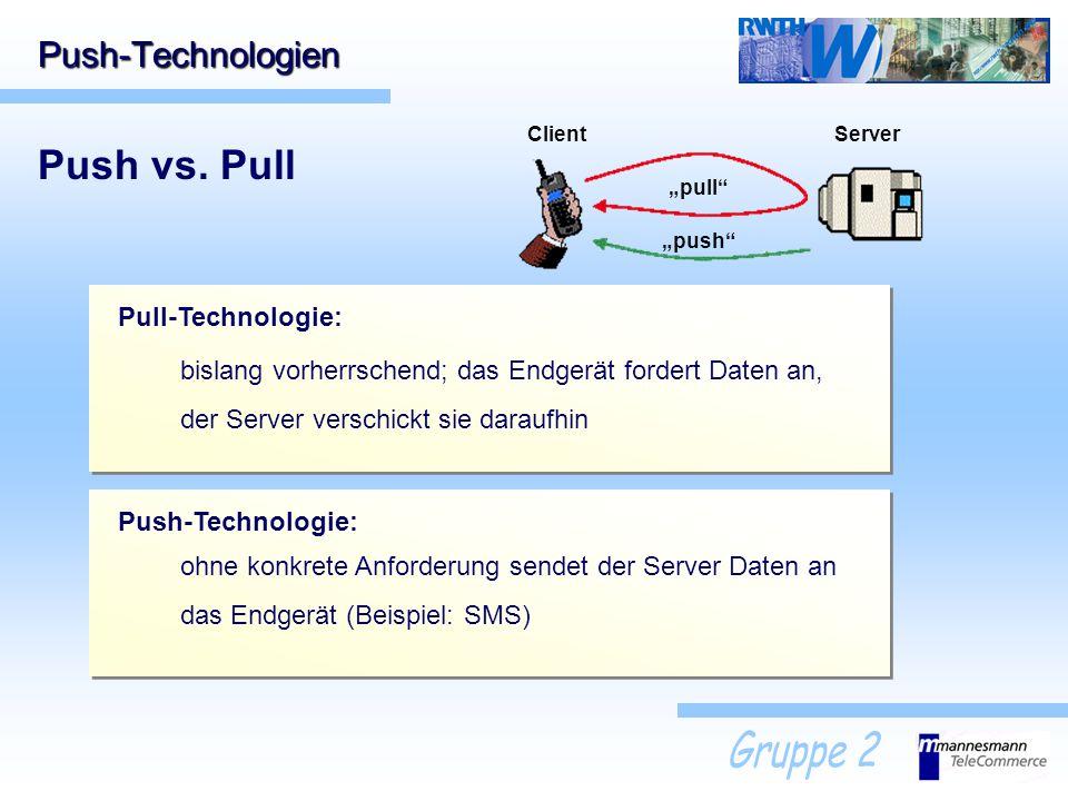 Push vs. Pull Push-Technologien Pull-Technologie:
