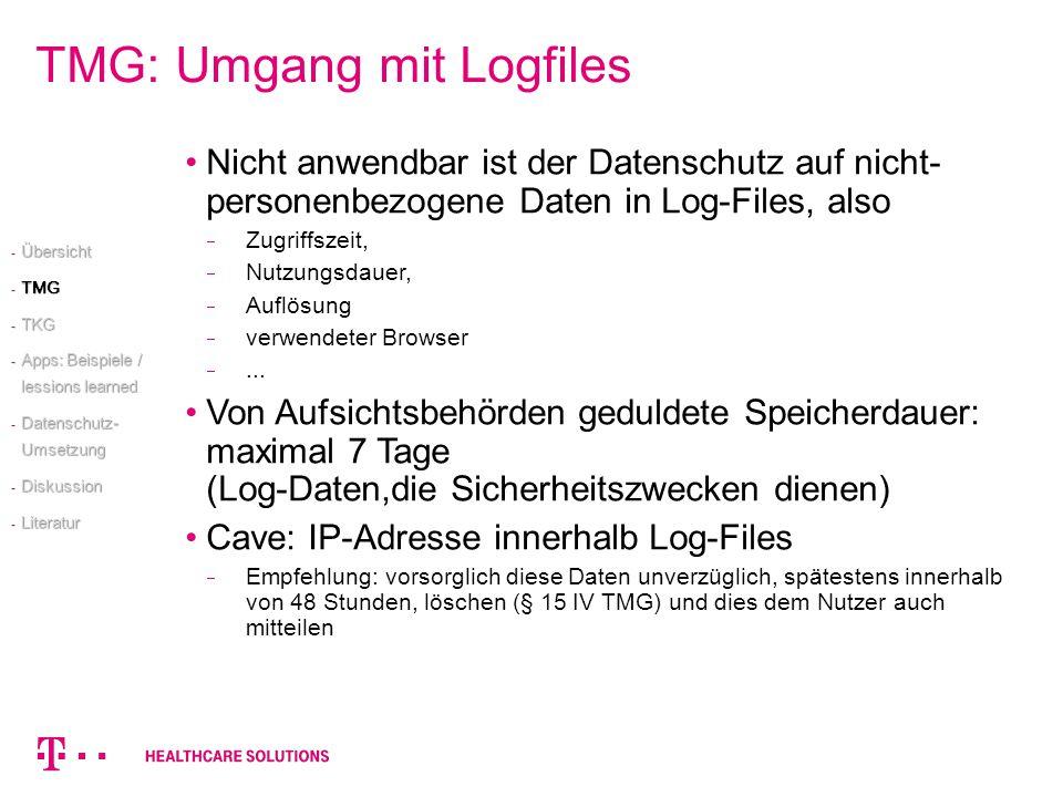 TMG: Umgang mit Logfiles