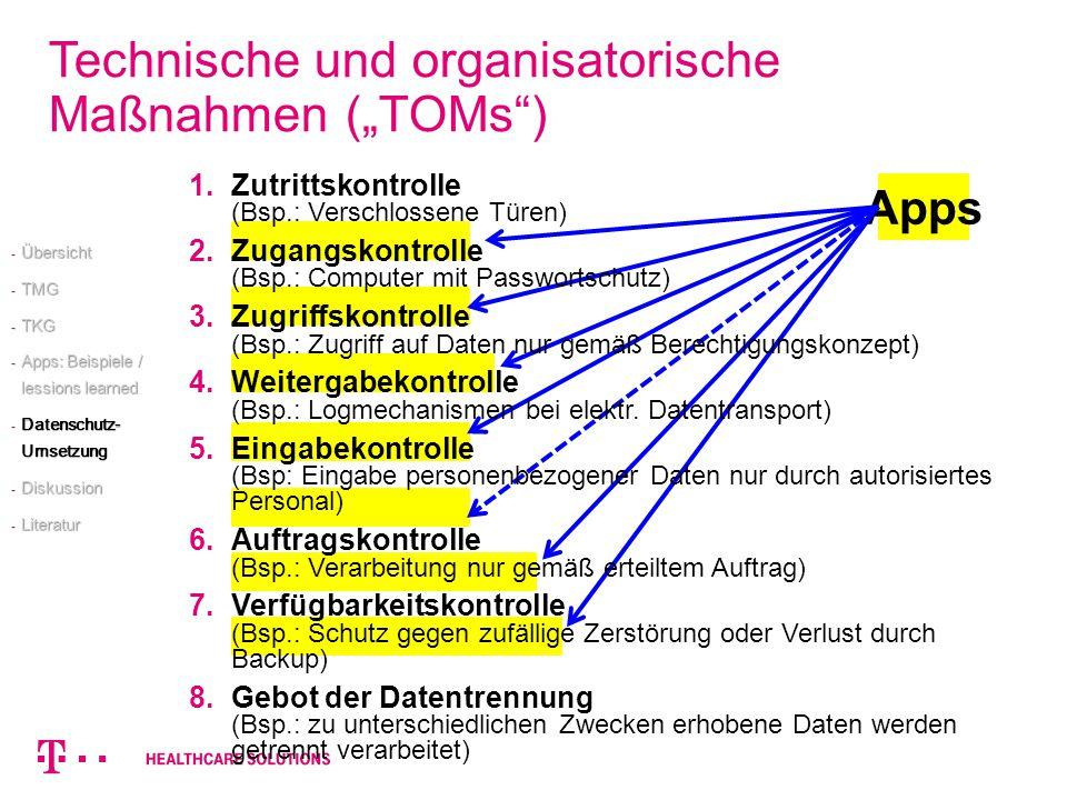 """Technische und organisatorische Maßnahmen (""""TOMs )"""