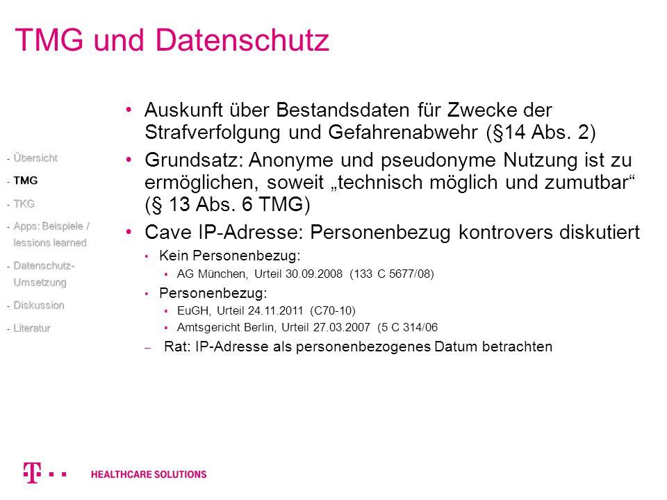 TMG und Datenschutz Auskunft über Bestandsdaten für Zwecke der Strafverfolgung und Gefahrenabwehr (§14 Abs. 2)