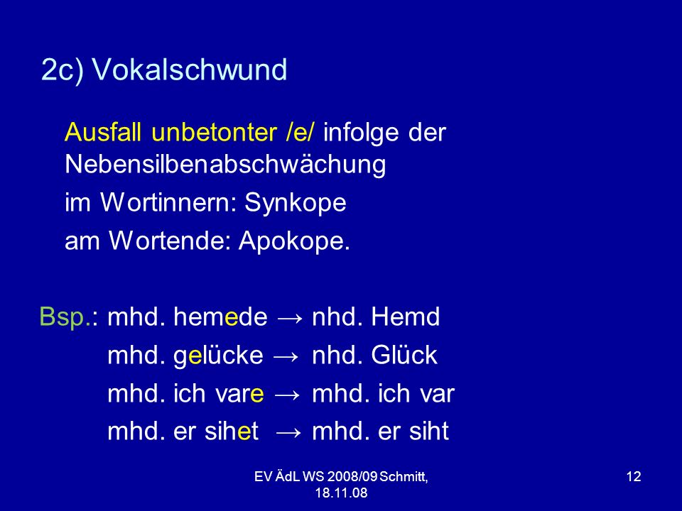 2c) Vokalschwund Ausfall unbetonter /e/ infolge der Nebensilbenabschwächung. im Wortinnern: Synkope.