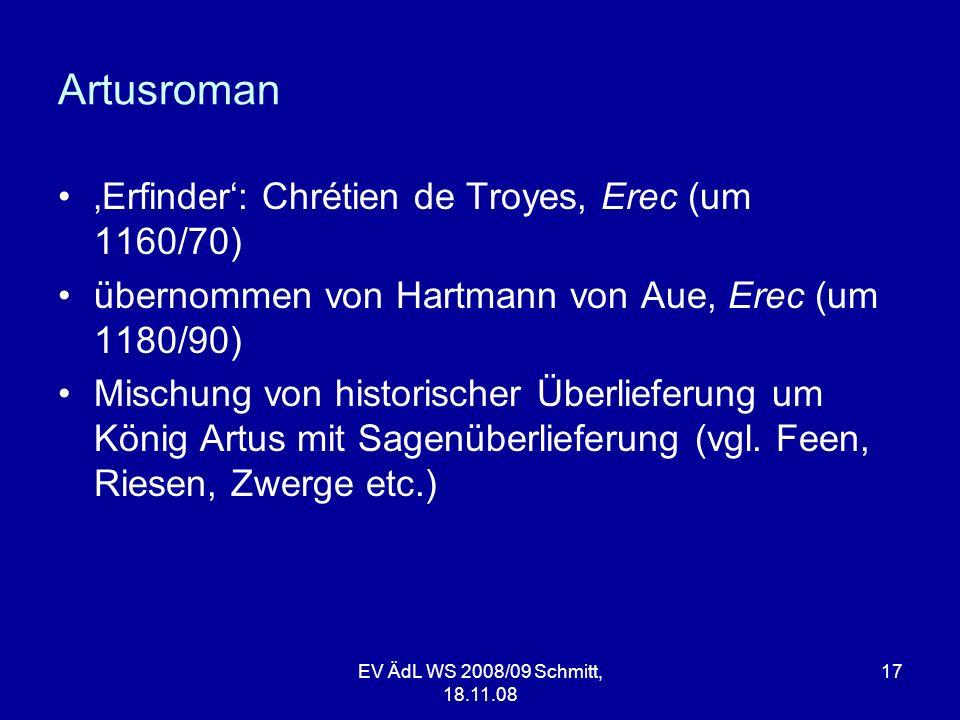 Artusroman 'Erfinder': Chrétien de Troyes, Erec (um 1160/70)