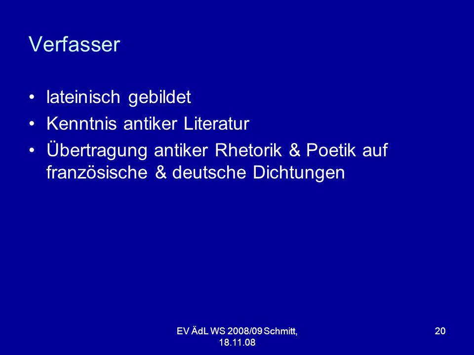 Verfasser lateinisch gebildet Kenntnis antiker Literatur