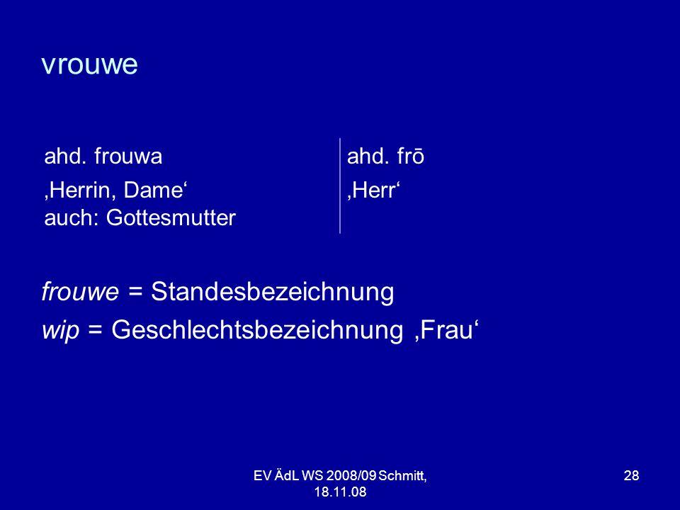 vrouwe frouwe = Standesbezeichnung wip = Geschlechtsbezeichnung 'Frau'
