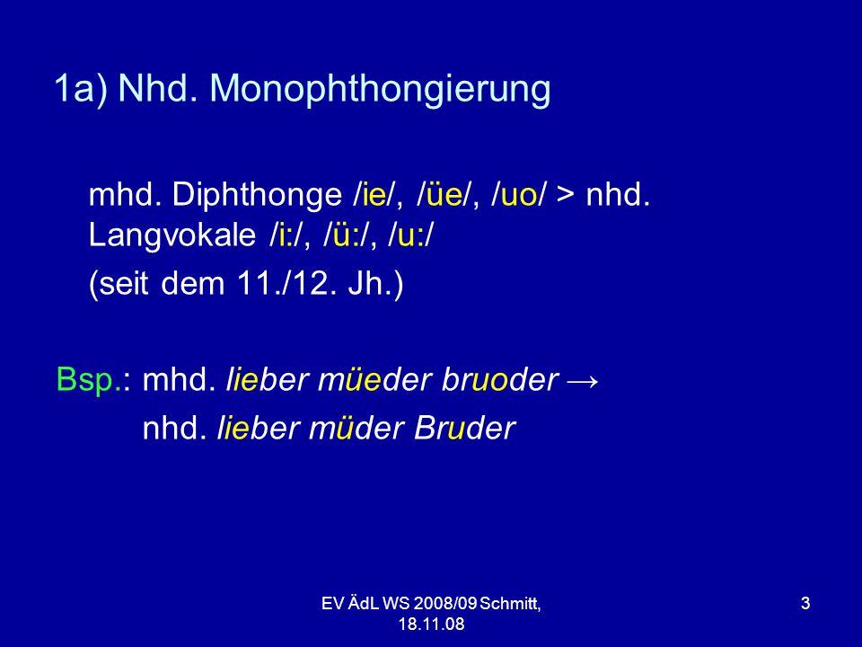 1a) Nhd. Monophthongierung