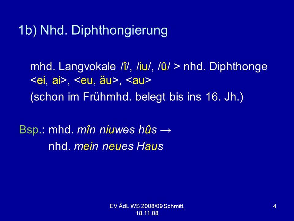 1b) Nhd. Diphthongierung