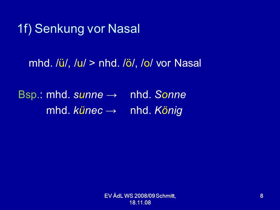 1f) Senkung vor Nasal mhd. /ü/, /u/ > nhd. /ö/, /o/ vor Nasal
