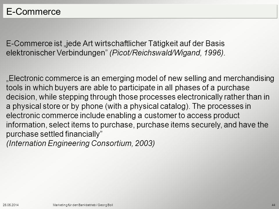 """E-Commerce E-Commerce ist """"jede Art wirtschaftlicher Tätigkeit auf der Basis elektronischer Verbindungen (Picot/Reichswald/Wigand, 1996)."""