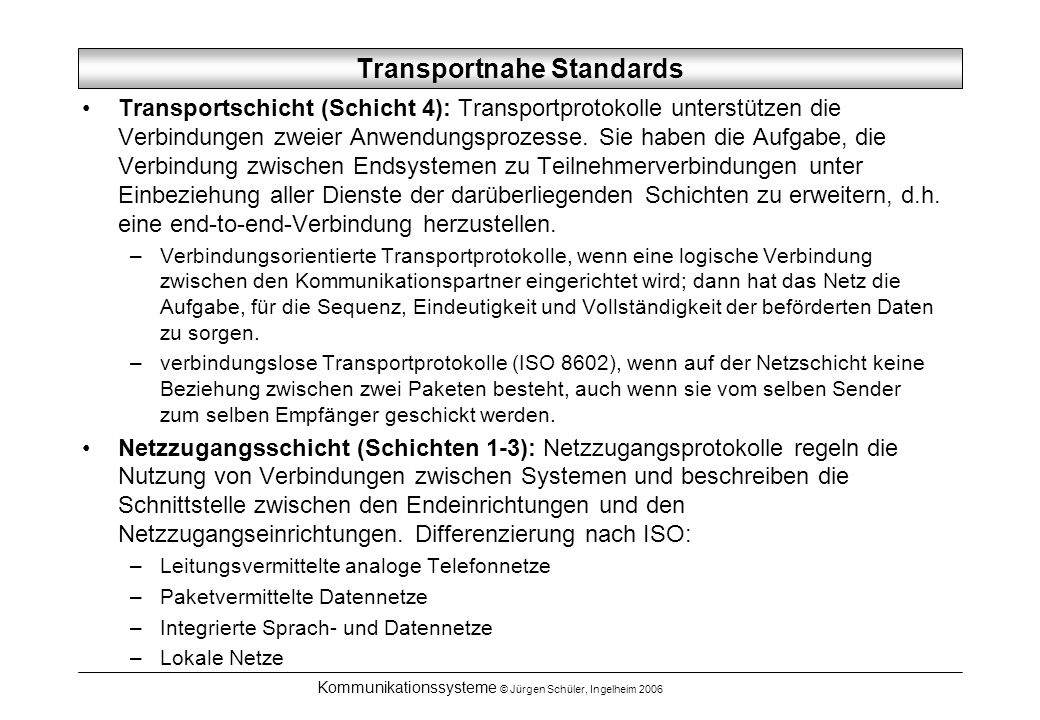 Transportnahe Standards
