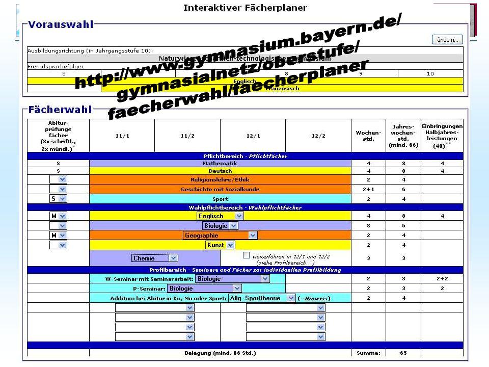 Belegung http://www.gymnasium.bayern.de/ gymnasialnetz/oberstufe/