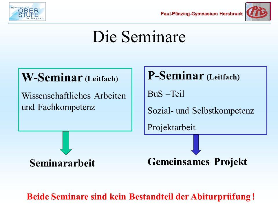 Beide Seminare sind kein Bestandteil der Abiturprüfung !