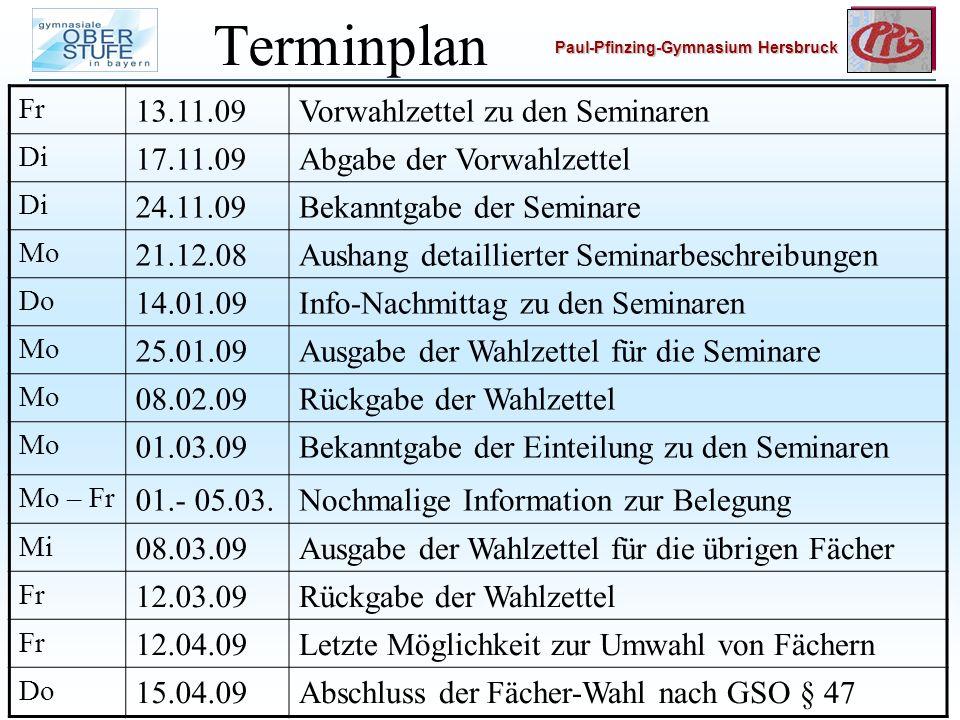 Terminplan 13.11.09 Vorwahlzettel zu den Seminaren 17.11.09