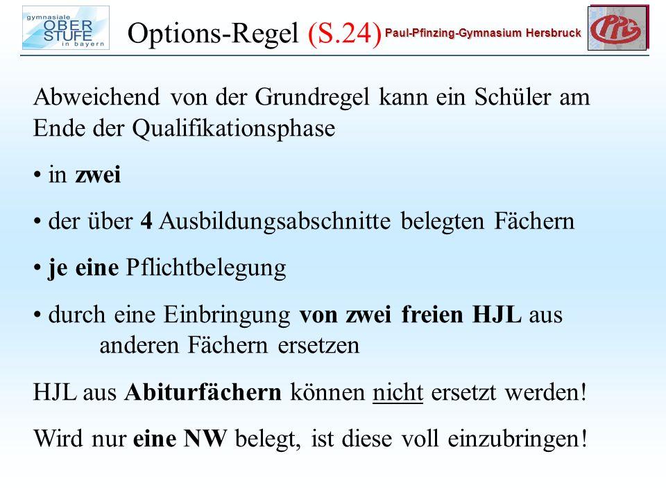 Options-Regel (S.24) Abweichend von der Grundregel kann ein Schüler am Ende der Qualifikationsphase.