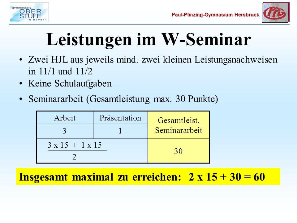 Leistungen im W-Seminar