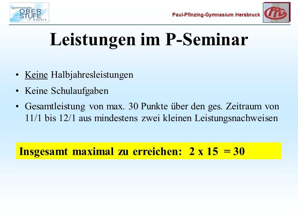 Leistungen im P-Seminar