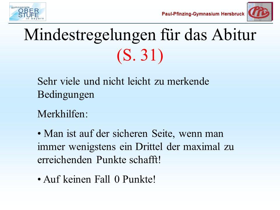 Mindestregelungen für das Abitur (S. 31)