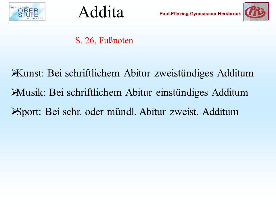 Addita Kunst: Bei schriftlichem Abitur zweistündiges Additum