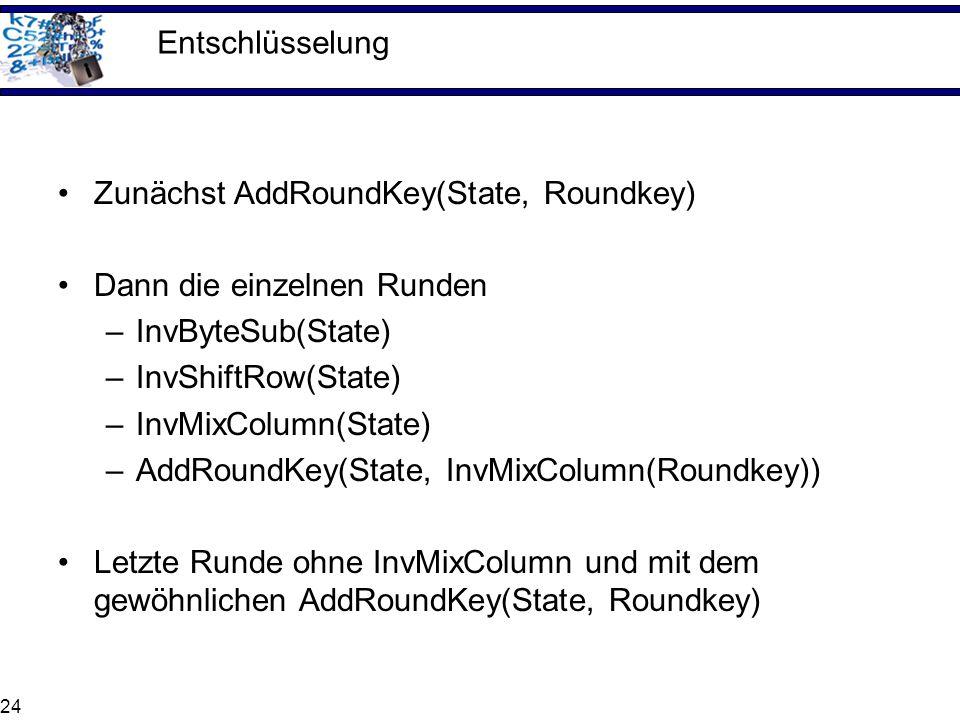 Entschlüsselung Zunächst AddRoundKey(State, Roundkey) Dann die einzelnen Runden. InvByteSub(State)