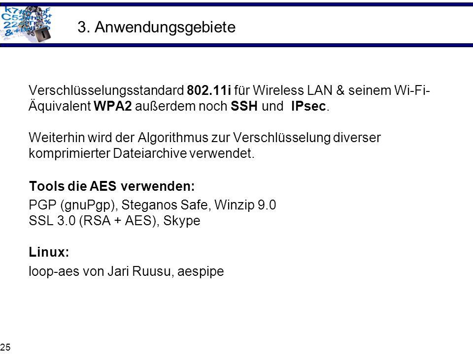 3. Anwendungsgebiete Verschlüsselungsstandard 802.11i für Wireless LAN & seinem Wi-Fi- Äquivalent WPA2 außerdem noch SSH und IPsec.