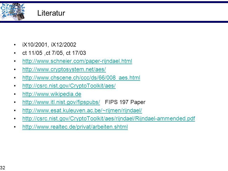 Literatur iX10/2001, iX12/2002 ct 11/05 ,ct 7/05, ct 17/03