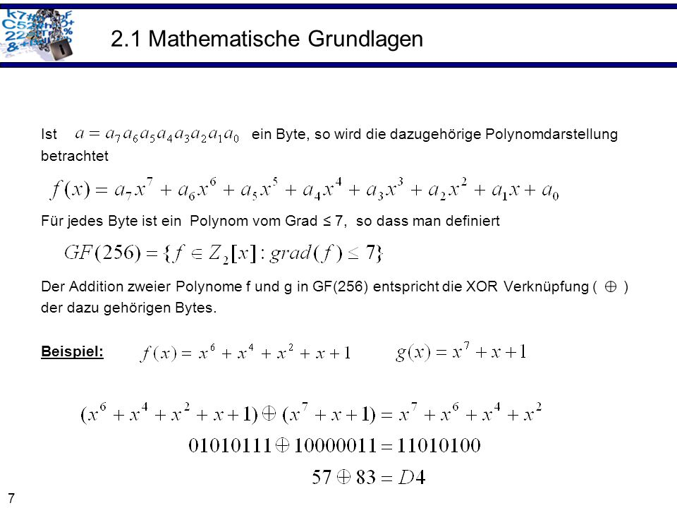 2.1 Mathematische Grundlagen