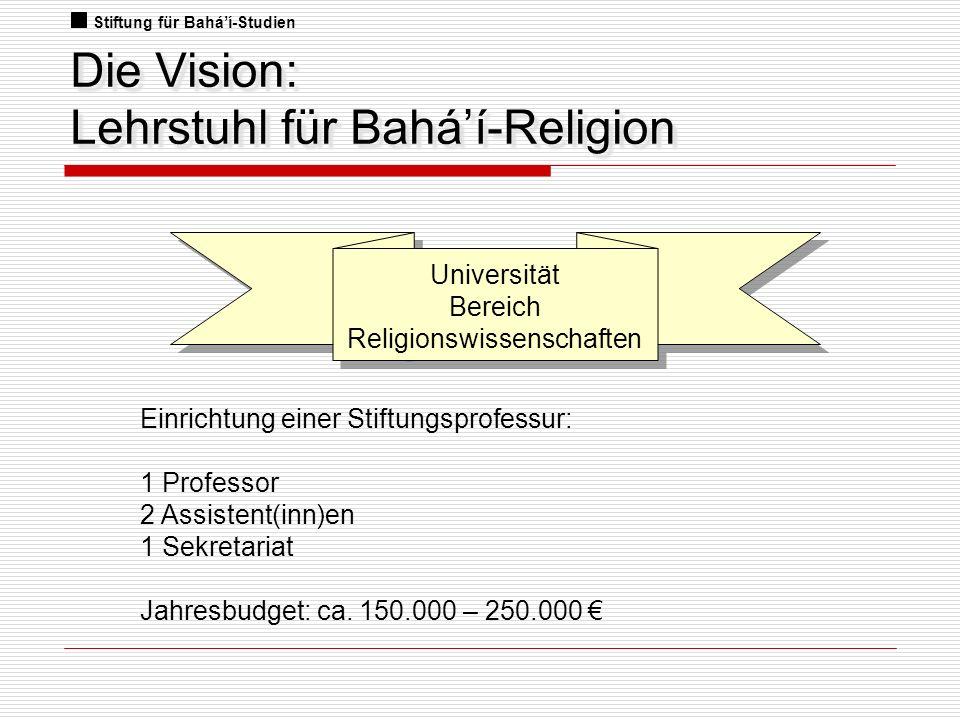 Die Vision: Lehrstuhl für Bahá'í-Religion
