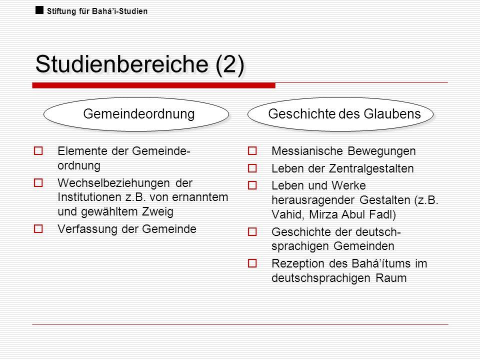 Studienbereiche (2) Gemeindeordnung Geschichte des Glaubens