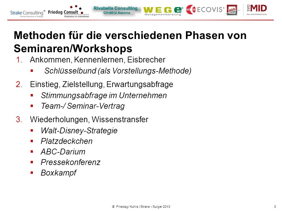 Kennenlernen workshops
