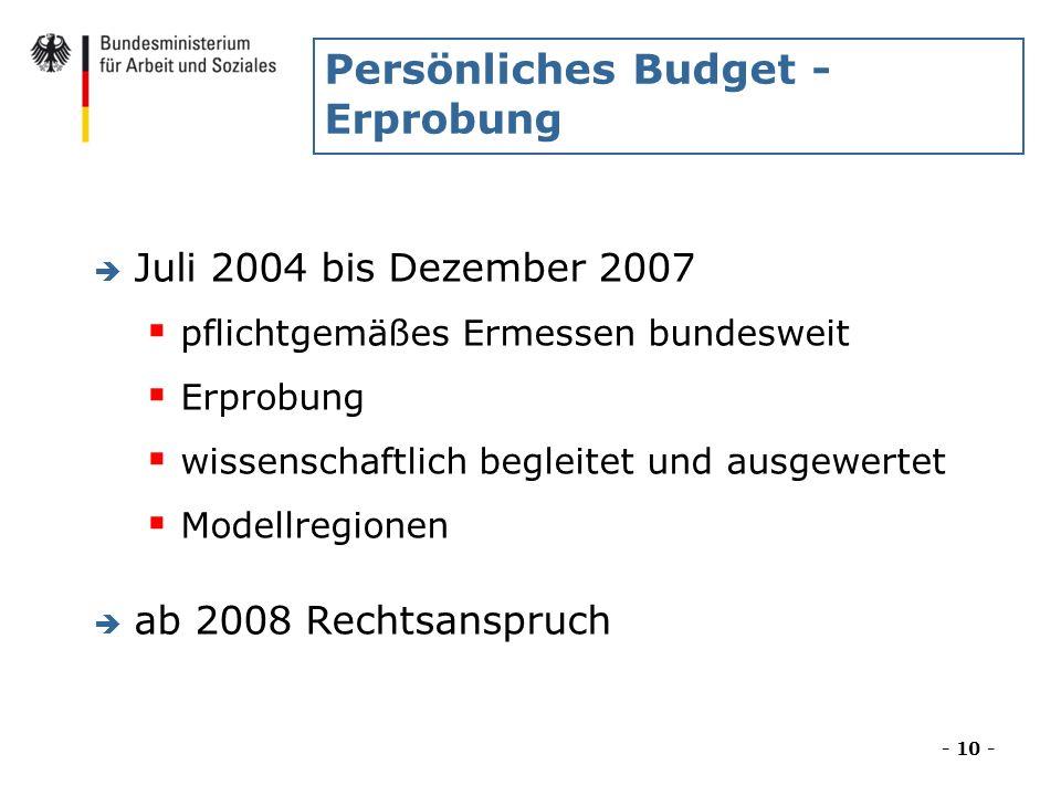 Persönliches Budget - Erprobung