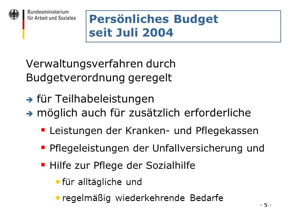 Persönliches Budget seit Juli 2004