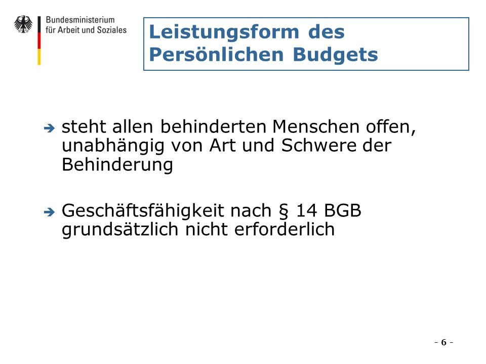 Leistungsform des Persönlichen Budgets