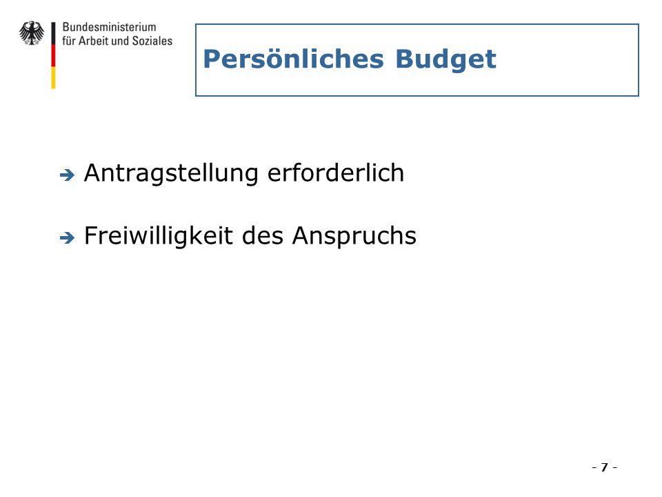 Persönliches Budget Antragstellung erforderlich
