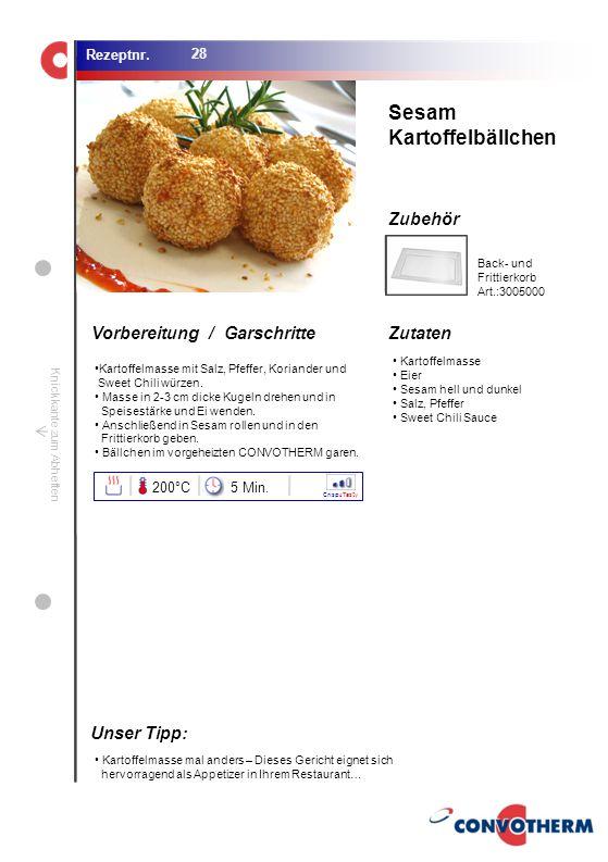 Sesam Kartoffelbällchen Unser Tipp: 200°C 5 Min. Back- und