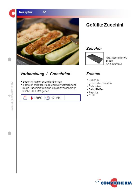 Gefüllte Zucchini 180°C 12 Min. Granitemailliertes Blech Art.: 3004033