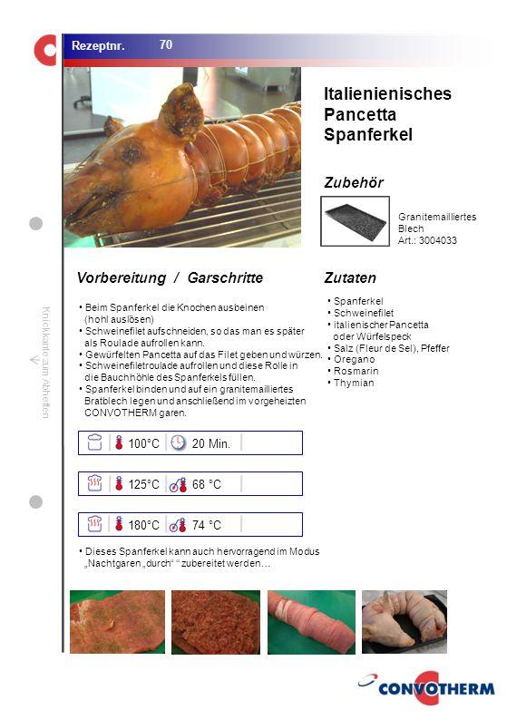 Italienienisches Pancetta Spanferkel 100°C 20 Min. 125°C 68 °C 180°C