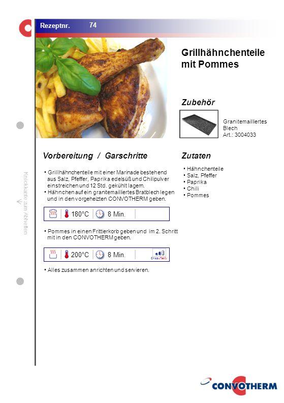 Grillhähnchenteile mit Pommes 180°C 8 Min. 200°C 8 Min.