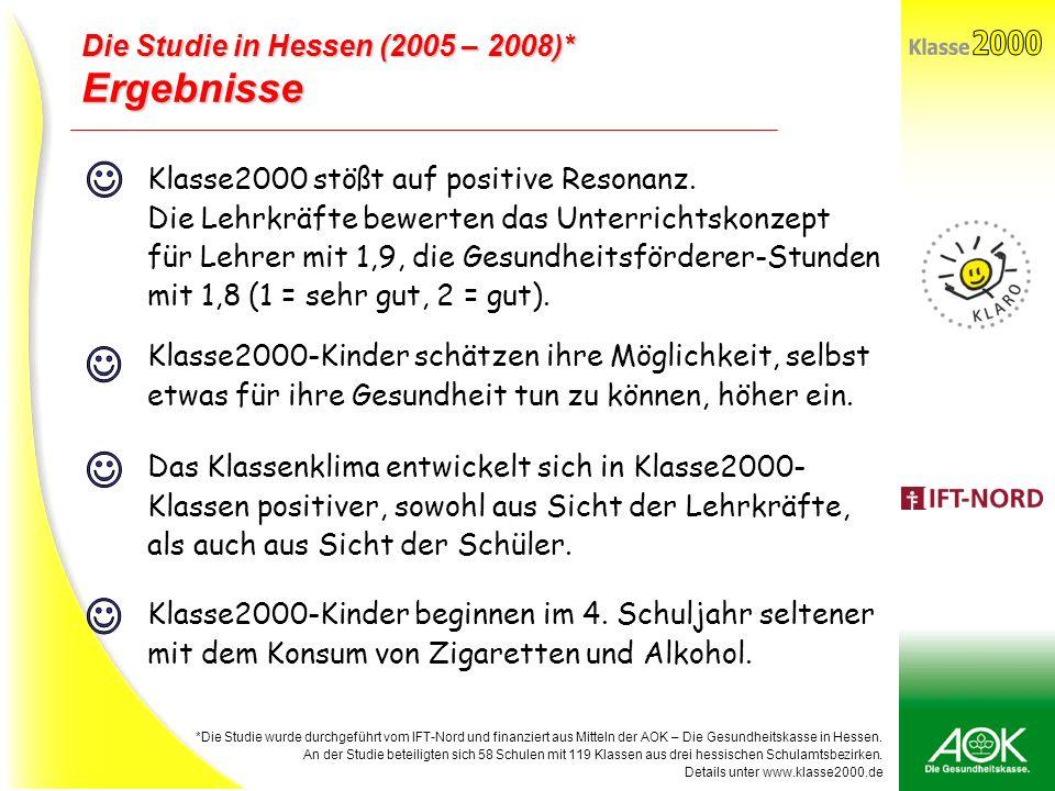 2000 Klasse J J J J Ergebnisse Die Studie in Hessen (2005 – 2008)*
