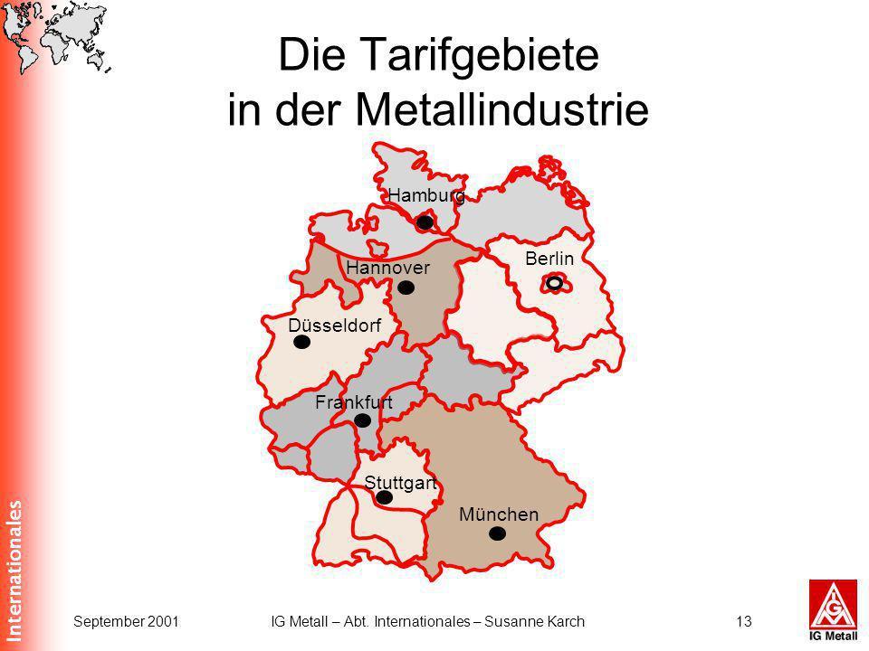 Die Tarifgebiete in der Metallindustrie