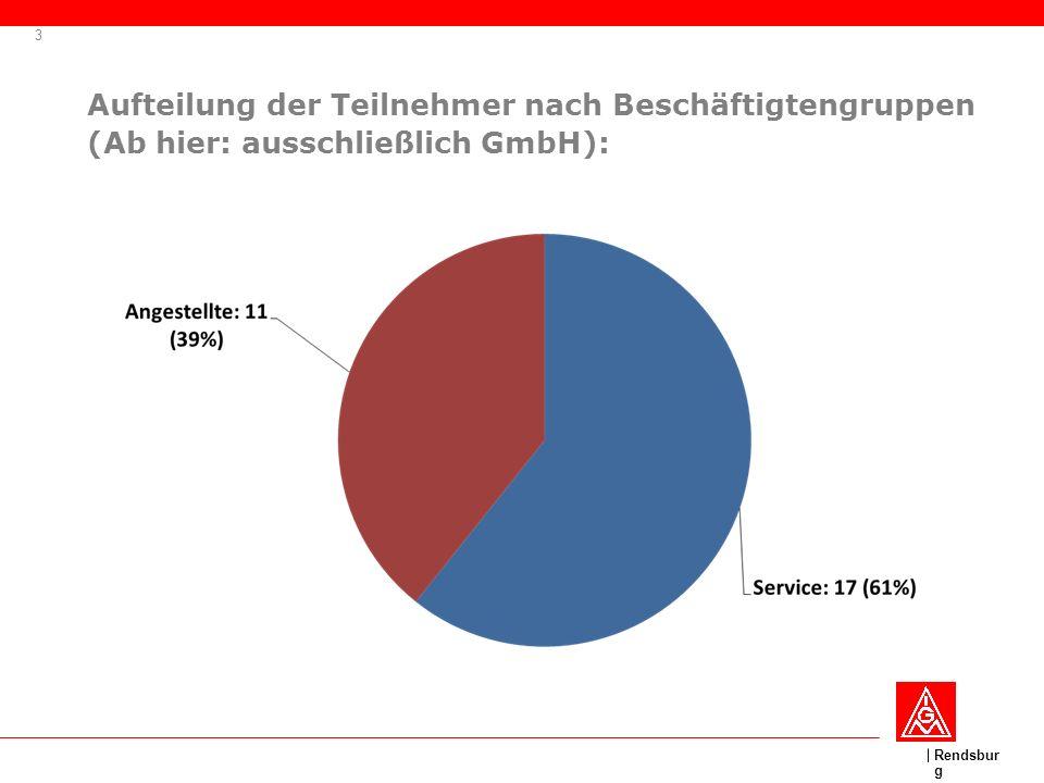 Aufteilung der Teilnehmer nach Beschäftigtengruppen (Ab hier: ausschließlich GmbH):