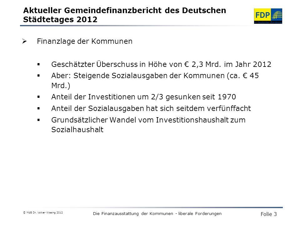 Aktueller Gemeindefinanzbericht des Deutschen Städtetages 2012