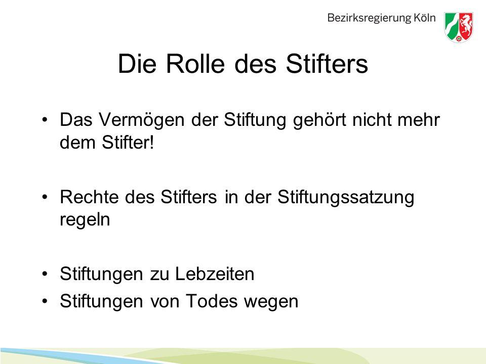 Die Rolle des Stifters Das Vermögen der Stiftung gehört nicht mehr dem Stifter! Rechte des Stifters in der Stiftungssatzung regeln.