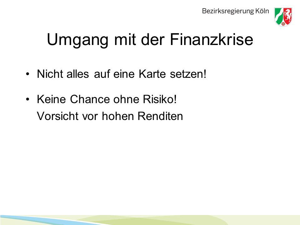 Umgang mit der Finanzkrise
