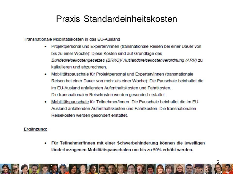 Praxis Standardeinheitskosten