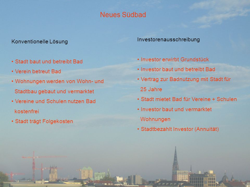 Neues Südbad Investorenausschreibung Konventionelle Lösung