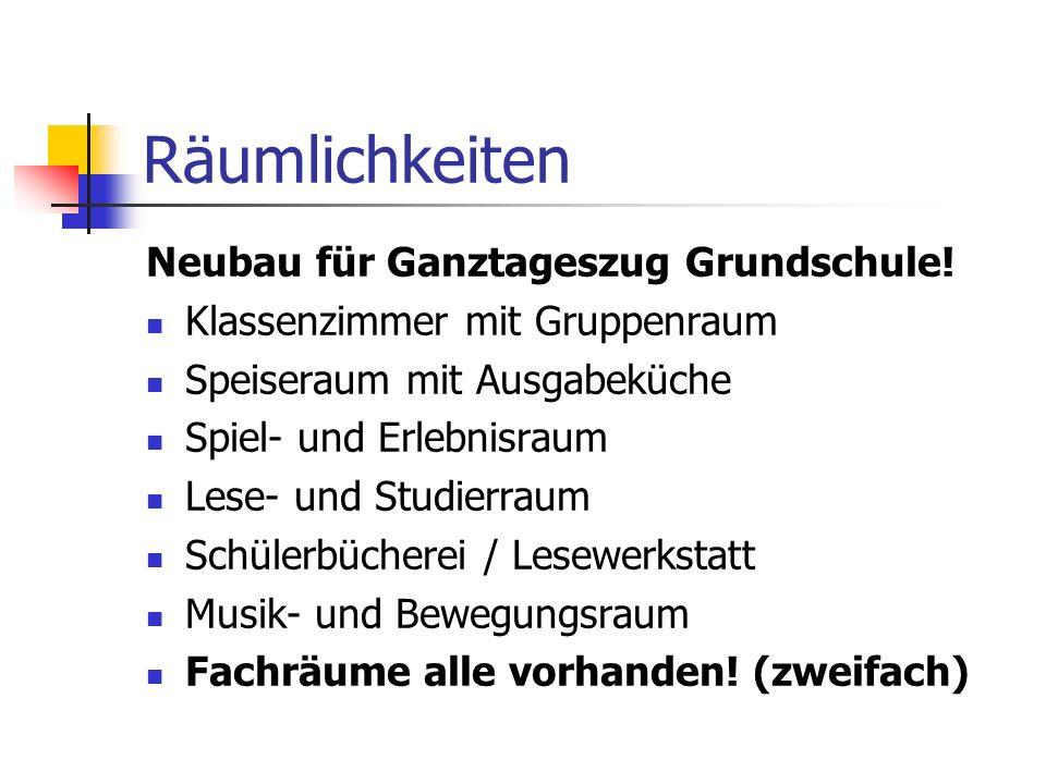 Räumlichkeiten Neubau für Ganztageszug Grundschule!