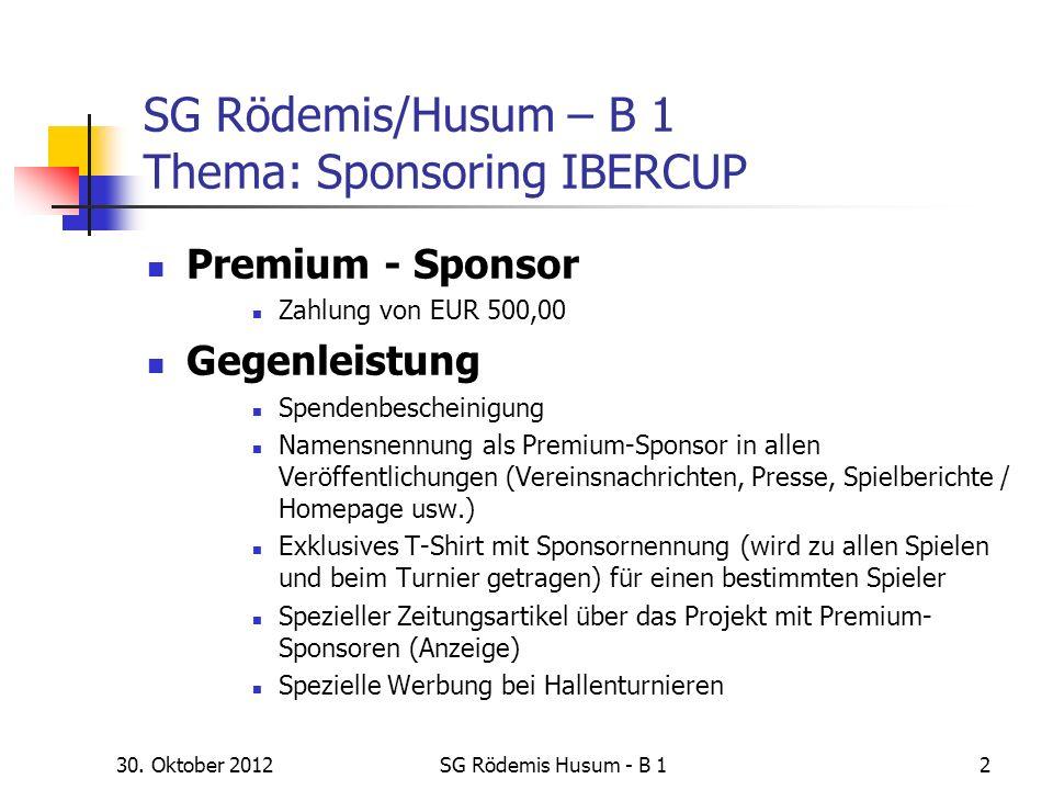 SG Rödemis/Husum – B 1 Thema: Sponsoring IBERCUP